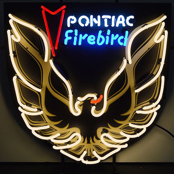 Pontiac Firebird Gold Neon Sign with Backing