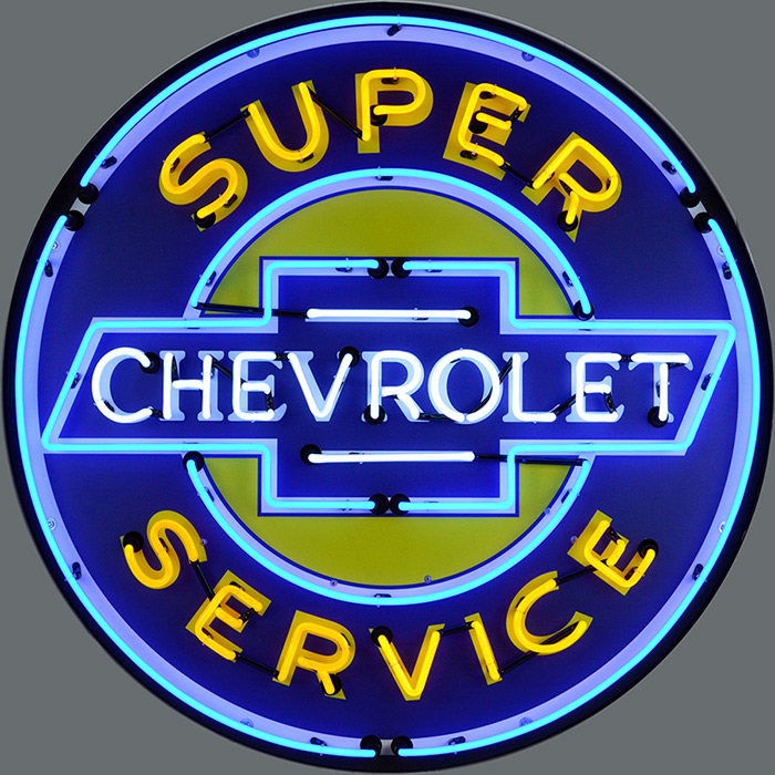 Super Chevrolet Service 36 Inch Neon Sign in Metal Can