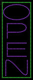 Custom Open Purple Border Green Led Sign 1