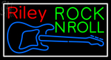Custom Riley Rock And Roll Blue Guitar Neon Sign 2
