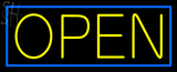 Custom Yellow Open With Blue Border Neon Sign 1