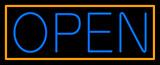 Blue Open With Orange Border Neon Sign