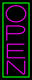 Green Border With Pink Vertical Open Neon Sign