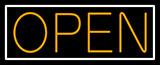 Orange Open With White Border Neon Sign