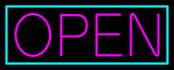 Pink Open With Aqua Border Neon Sign