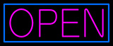 Pink Open With Blue Border Neon Sign