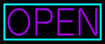 Purple Open With Aqua Border Neon Sign