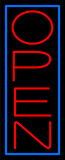 Red Open With Blue Border Vertical Neon Sign