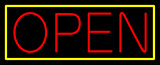 Yellow Border With Red Open Neon Sign