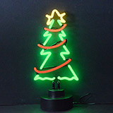 Christmas Tree with Garland Neon Sculpture