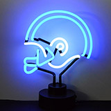 Helmet Blue and White Neon Sculpture