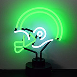 Helmet Green and White Neon Sculpture