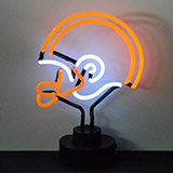 Helmet Orange and White Neon Sculpture