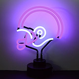 Helmet Purple and White Neon Sculpture