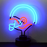 Helmet Red and Blue Neon Sculpture