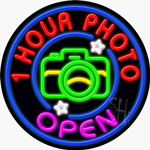 1 Hour Photo Open Neon Sign
