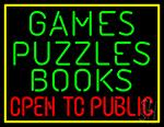 Games Puzzles Books Open Tc Public Neon Sign
