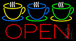 Coffee Cups Open Neon Sign
