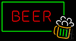 Beer Mug Green Border Neon Sign