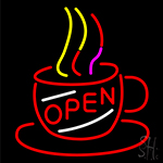 Coffee Cup With Open Neon Sign