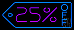 25 Percent Off Neon Sign