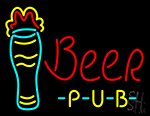 Beer Pub With Glass Neon Sign