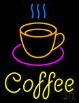 Coffee Cup With Yellow Coffee Neon Sign