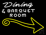 Dining And Banquet Room With Arrow Neon Sign