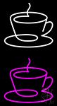 Pink Coffee Cup Icon Neon Sign