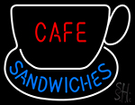 Cafe Sandwiches With Tea Cup Neon Sign