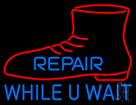 Red Shoe Repair While U Wait Neon Sign