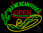 Tax Mexican Food Open Neon Sign