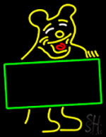 Bear With Sign Board Neon Sign