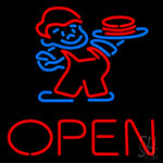 Open Guys With Burger Neon Sign
