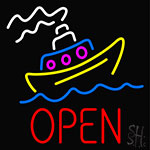 Open With Boat Neon Sign