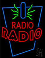 Radio With Double Stroke Red Neon Sign