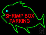 Shrimp Box Parking With Green Fish Neon Sign