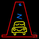 Yellow Car With Red Border Neon Sign