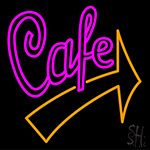Cafe With Red Arrow Neon Sign