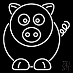 Cartoon Pig Neon Sign