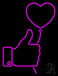 Outline White Thumb Up Icon With Heart Balloon Neon Sign
