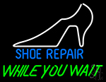 White Shoe While You Wait Neon Sign