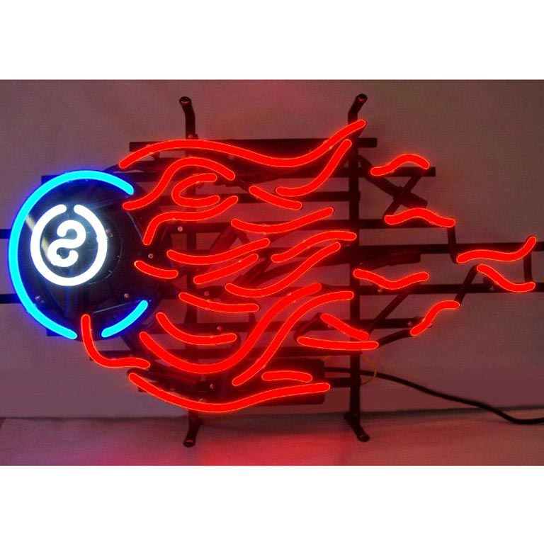 8 Ball Fire Neon Sign