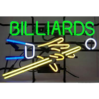 Billiards Hand and Cue Neon Sign