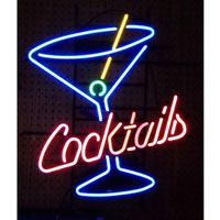 Cocktails & Martini Glass Neon Sign