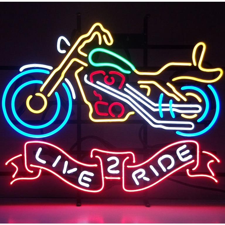 Live 2 Ride Motorcycle Neon Sign