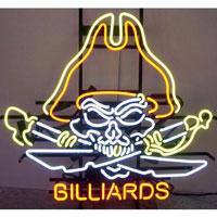Pirate Skull Billiards Neon Sign