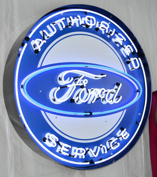 Large Ford Neon Sign W/ Backing in Crate