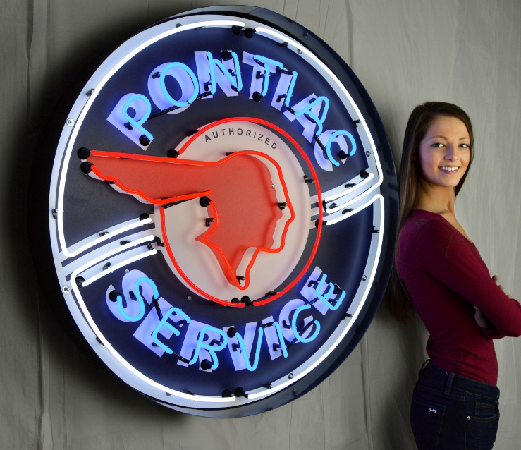Large Pontiac Service Neon Sign W/ Backing in Crate