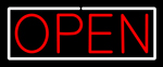 Open With White Border Neon Sign
